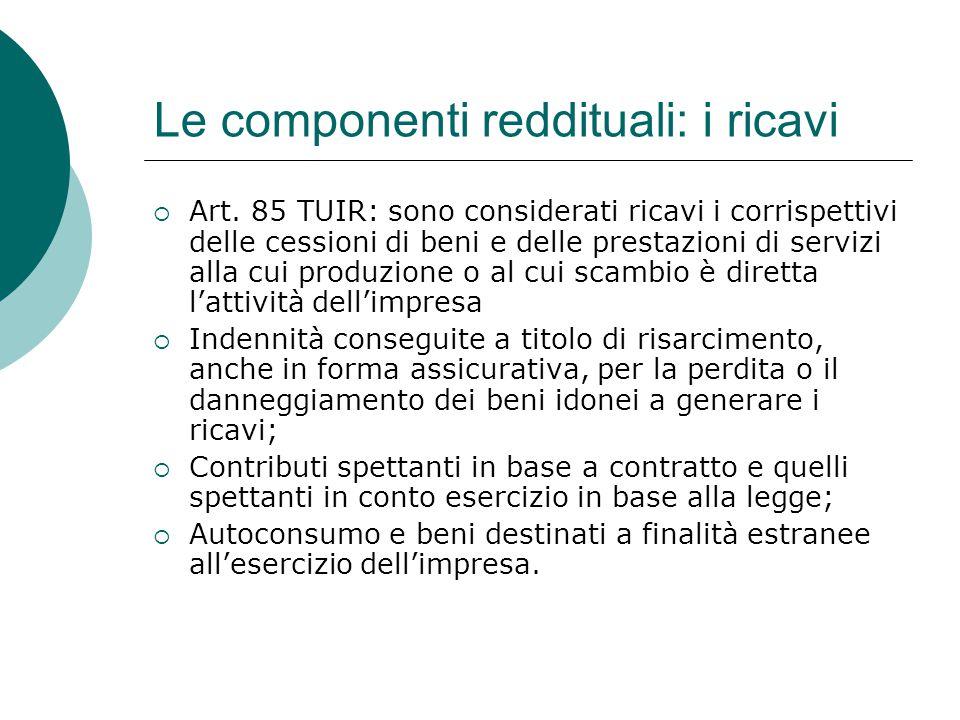 Le componenti reddituali: i ricavi  Art. 85 TUIR: sono considerati ricavi i corrispettivi delle cessioni di beni e delle prestazioni di servizi alla