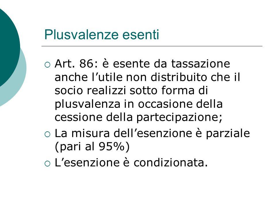 Plusvalenze esenti  Art. 86: è esente da tassazione anche l'utile non distribuito che il socio realizzi sotto forma di plusvalenza in occasione della