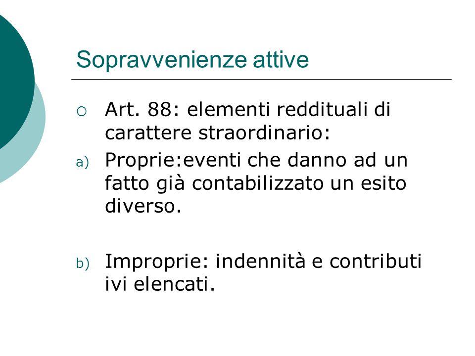 Sopravvenienze attive  Art. 88: elementi reddituali di carattere straordinario: a) Proprie:eventi che danno ad un fatto già contabilizzato un esito d