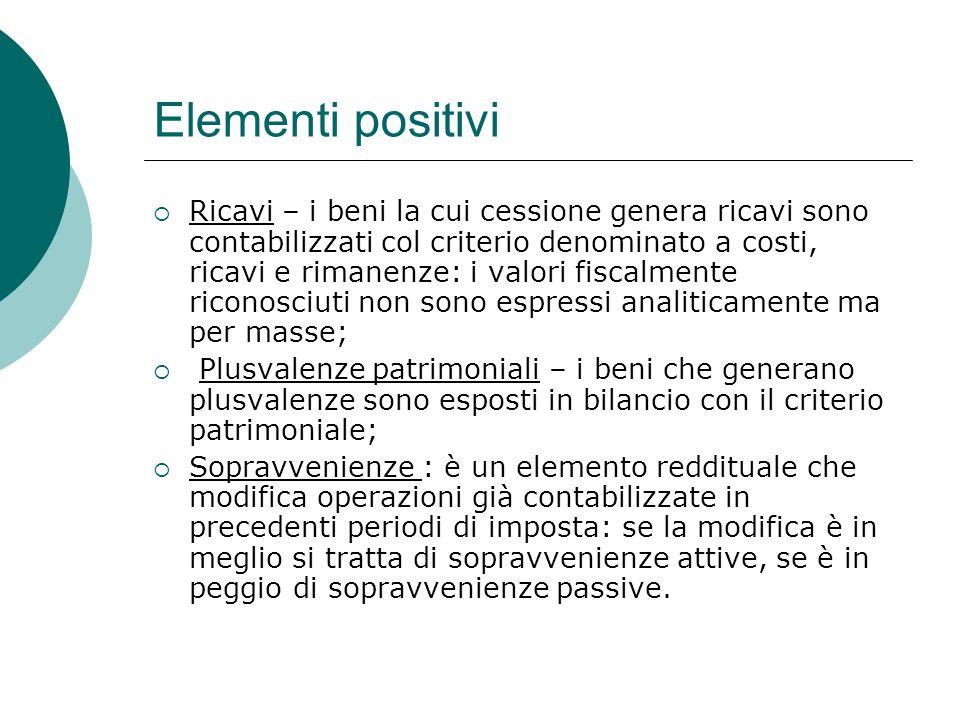 Elementi positivi  Ricavi – i beni la cui cessione genera ricavi sono contabilizzati col criterio denominato a costi, ricavi e rimanenze: i valori fi