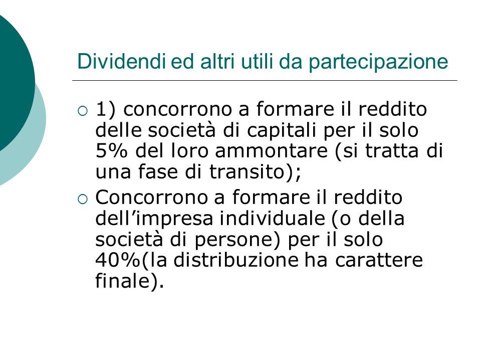 Dividendi ed altri utili da partecipazione  1) concorrono a formare il reddito delle società di capitali per il solo 5% del loro ammontare (si tratta