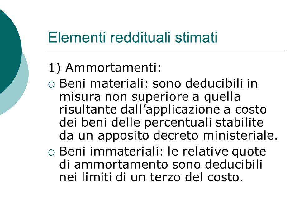Elementi reddituali stimati 1) Ammortamenti:  Beni materiali: sono deducibili in misura non superiore a quella risultante dall'applicazione a costo d