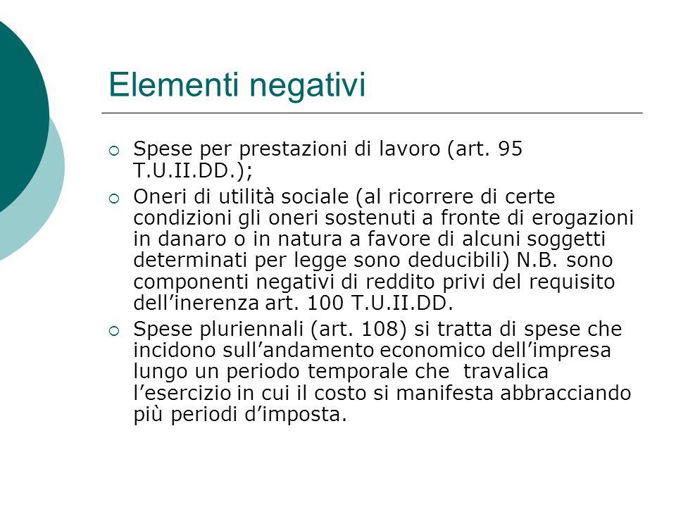 Elementi negativi  Spese per prestazioni di lavoro (art. 95 T.U.II.DD.);  Oneri di utilità sociale (al ricorrere di certe condizioni gli oneri soste
