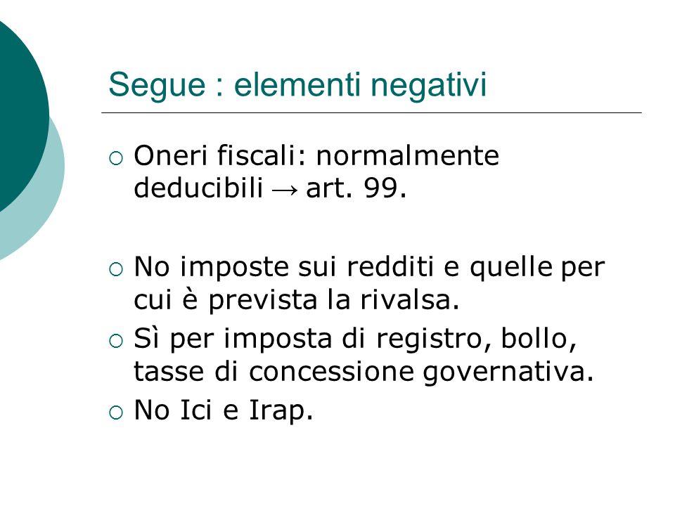 Segue : elementi negativi  Oneri fiscali: normalmente deducibili → art. 99.  No imposte sui redditi e quelle per cui è prevista la rivalsa.  Sì per