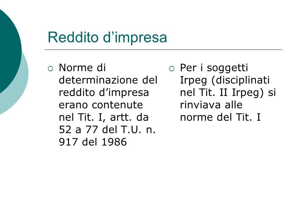 Reddito d'impresa  Norme di determinazione del reddito d'impresa erano contenute nel Tit. I, artt. da 52 a 77 del T.U. n. 917 del 1986  Per i sogget