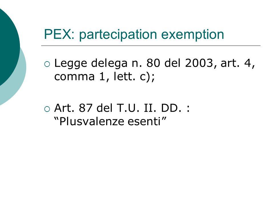 "PEX: partecipation exemption  Legge delega n. 80 del 2003, art. 4, comma 1, lett. c);  Art. 87 del T.U. II. DD. : ""Plusvalenze esenti"""