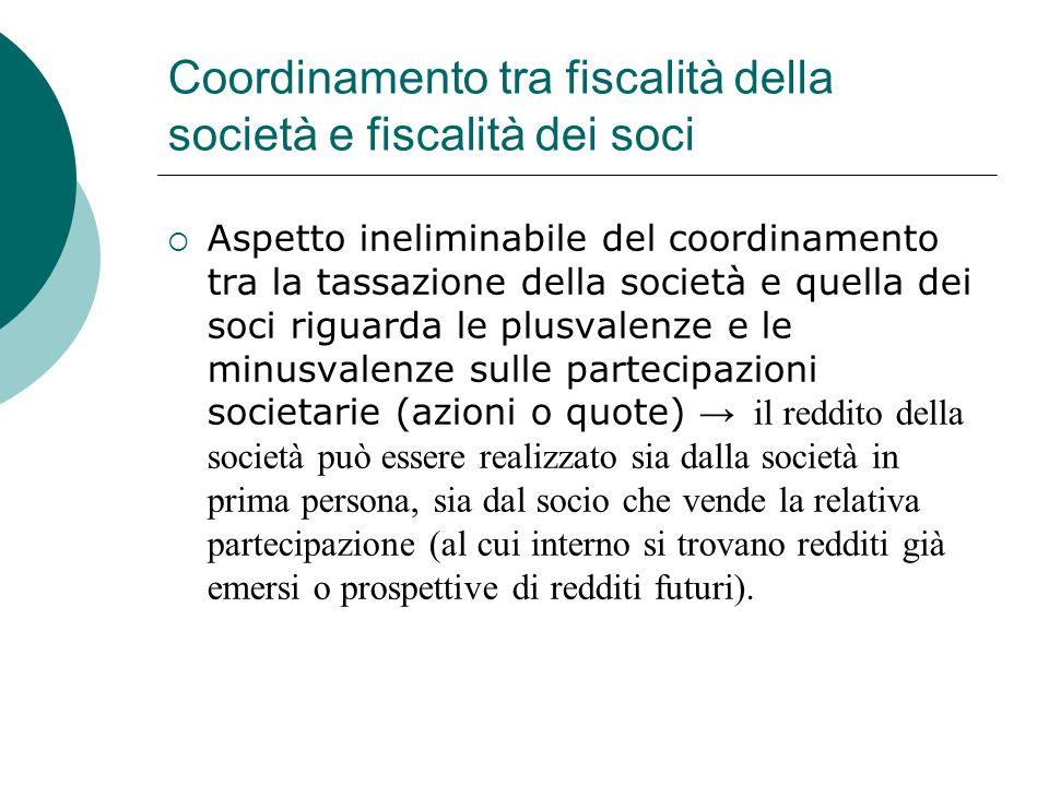 Coordinamento tra fiscalità della società e fiscalità dei soci  Aspetto ineliminabile del coordinamento tra la tassazione della società e quella dei