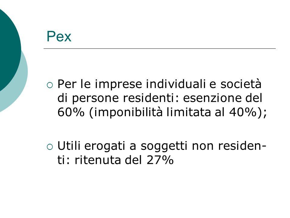 Pex  Per le imprese individuali e società di persone residenti: esenzione del 60% (imponibilità limitata al 40%);  Utili erogati a soggetti non resi