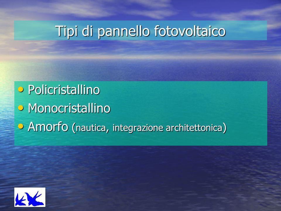 Tipi di pannello fotovoltaico Policristallino Policristallino Monocristallino Monocristallino Amorfo ( nautica, integrazione architettonica ) Amorfo (