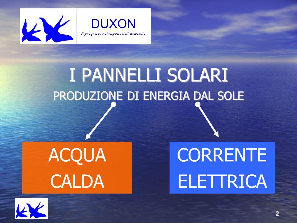 2 Duxo n DUXON Il progresso nel rispetto dell'ambiente I PANNELLI SOLARI PRODUZIONE DI ENERGIA DAL SOLE ACQUA CALDA CORRENTE ELETTRICA