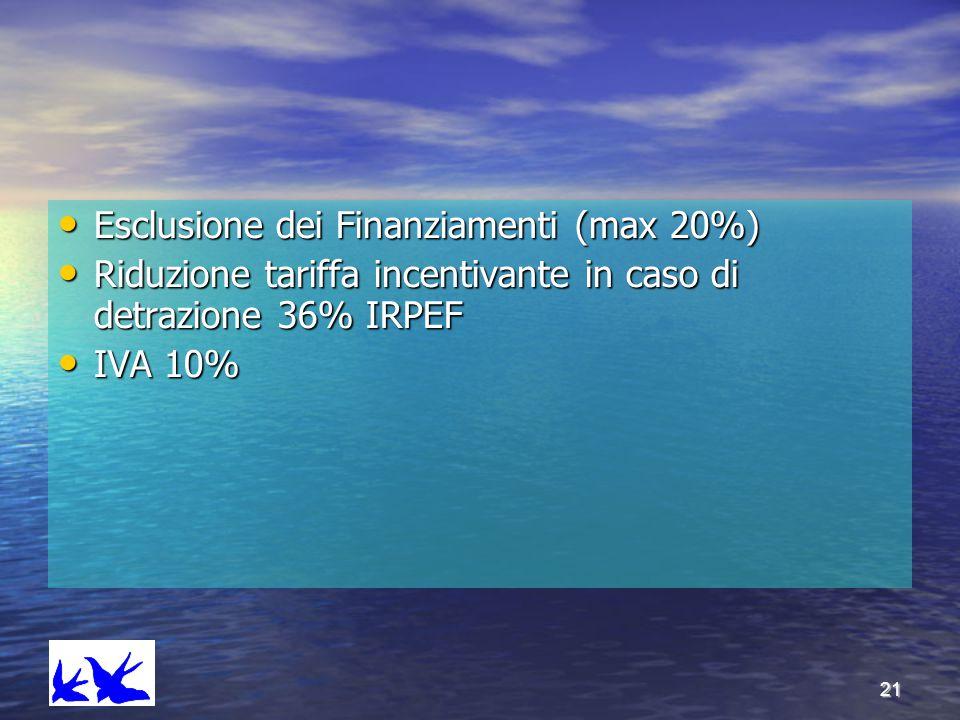 21 Esclusione dei Finanziamenti (max 20%) Esclusione dei Finanziamenti (max 20%) Riduzione tariffa incentivante in caso di detrazione 36% IRPEF Riduzi