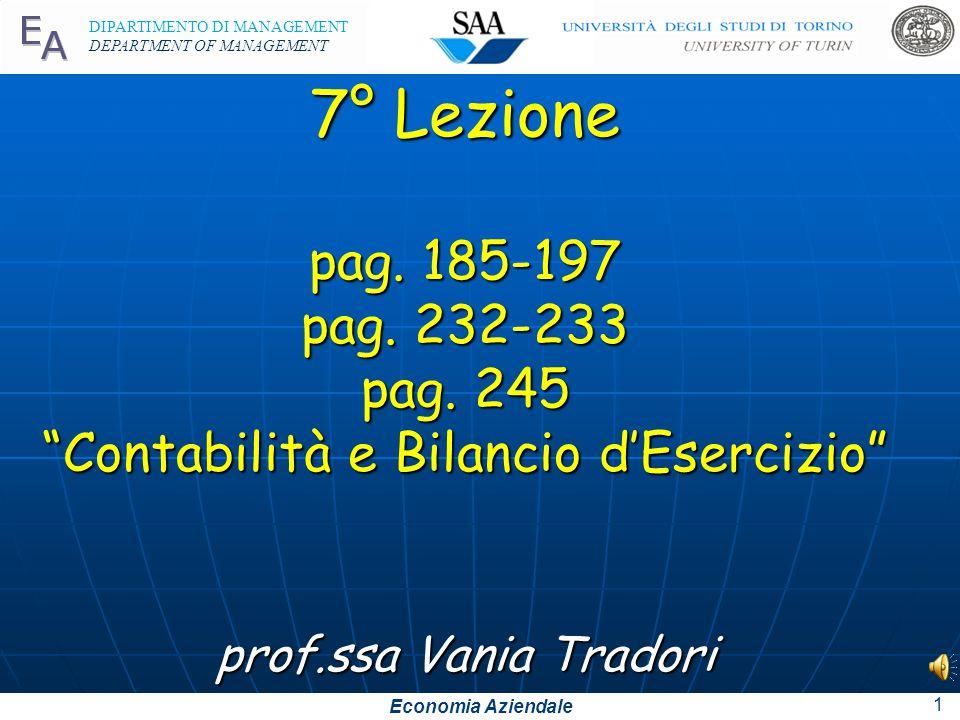 Economia Aziendale DIPARTIMENTO DI MANAGEMENT DEPARTMENT OF MANAGEMENT 7° Lezione pag.
