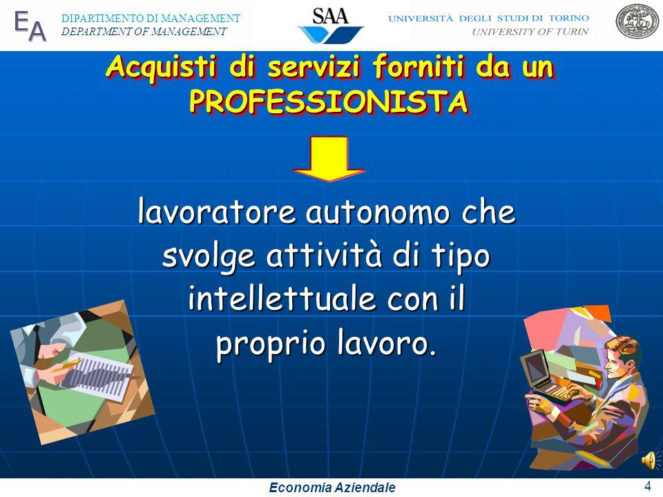 Economia Aziendale DIPARTIMENTO DI MANAGEMENT DEPARTMENT OF MANAGEMENT 4 Acquisti di servizi forniti da un PROFESSIONISTA lavoratore autonomo che svolge attività di tipo intellettuale con il proprio lavoro.