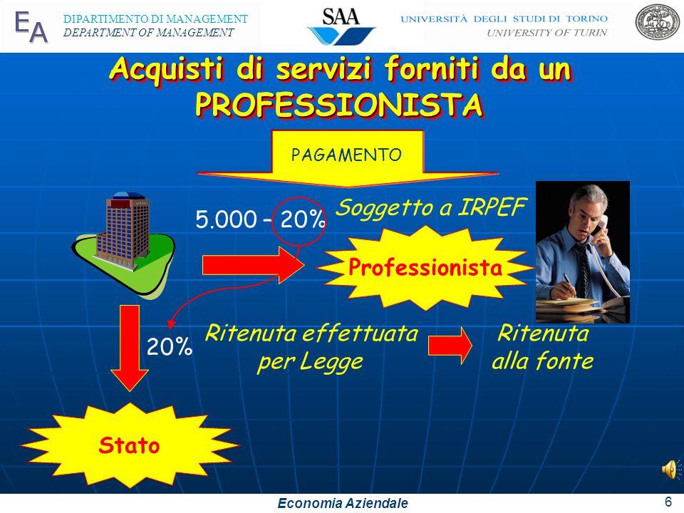 Economia Aziendale DIPARTIMENTO DI MANAGEMENT DEPARTMENT OF MANAGEMENT 5 Acquisti di servizi forniti da un PROFESSIONISTA PARCELLA: Consulenza € 5.000