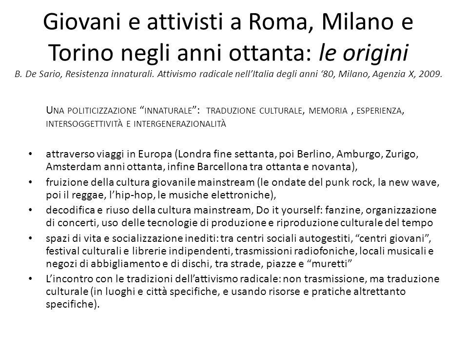 Giovani e attivisti a Roma, Milano e Torino negli anni ottanta: le origini B.