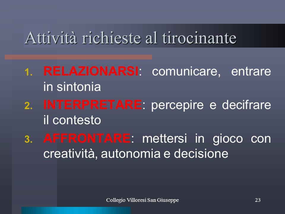 Collegio Villoresi San Giuseppe23 Attività richieste al tirocinante 1.
