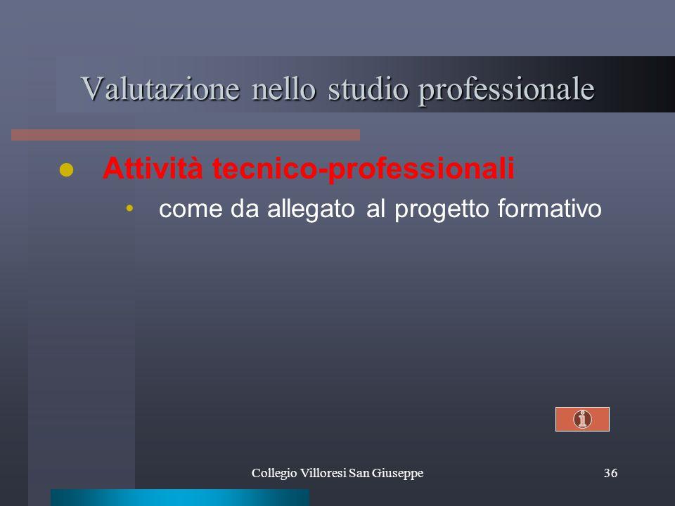Collegio Villoresi San Giuseppe36 Valutazione nello studio professionale Attività tecnico-professionali come da allegato al progetto formativo