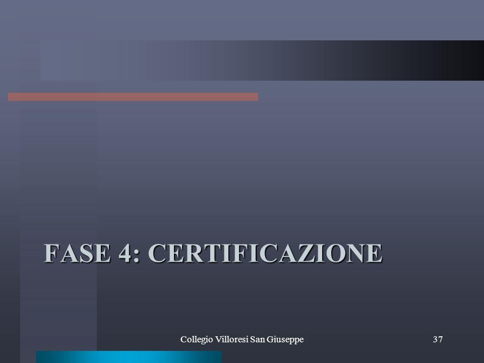 FASE 4: CERTIFICAZIONE Collegio Villoresi San Giuseppe37
