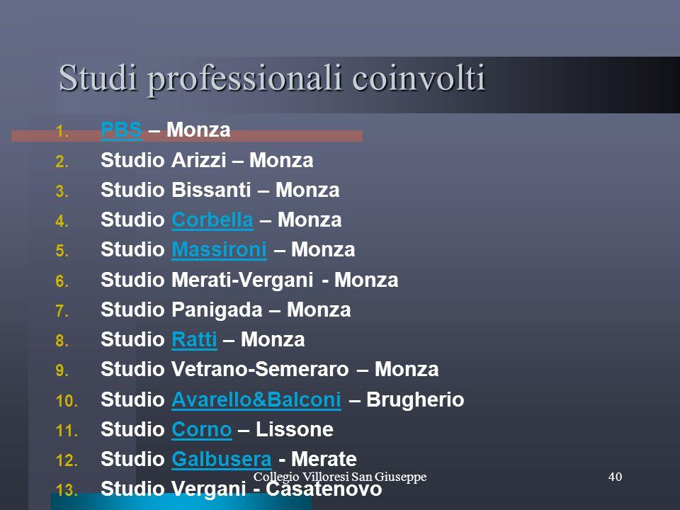 Collegio Villoresi San Giuseppe40 Studi professionali coinvolti 1.