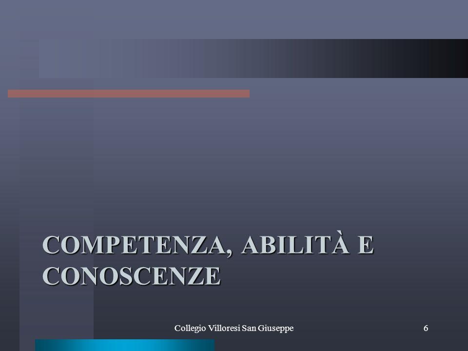 COMPETENZA, ABILITÀ E CONOSCENZE Collegio Villoresi San Giuseppe6