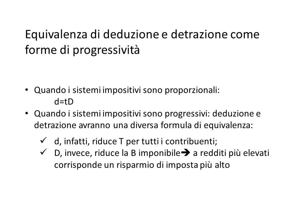 Equivalenza di deduzione e detrazione come forme di progressività Quando i sistemi impositivi sono proporzionali: d=tD Quando i sistemi impositivi son