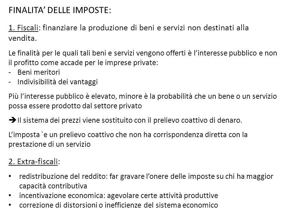 FINALITA' DELLE IMPOSTE: 1. Fiscali: finanziare la produzione di beni e servizi non destinati alla vendita. Le finalità per le quali tali beni e servi