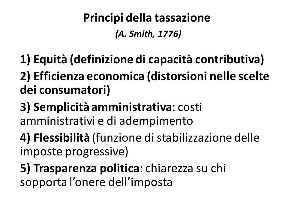 Principi della tassazione (A. Smith, 1776) 1) Equità (definizione di capacità contributiva) 2) Efficienza economica (distorsioni nelle scelte dei cons