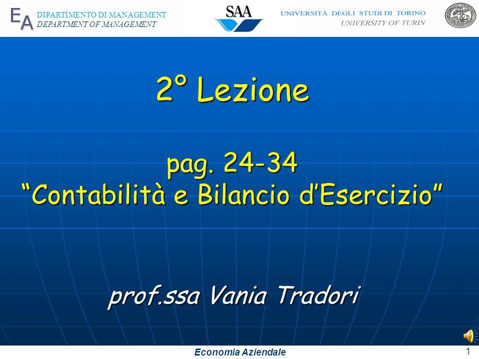 Economia Aziendale DIPARTIMENTO DI MANAGEMENT DEPARTMENT OF MANAGEMENT 2° Lezione pag.