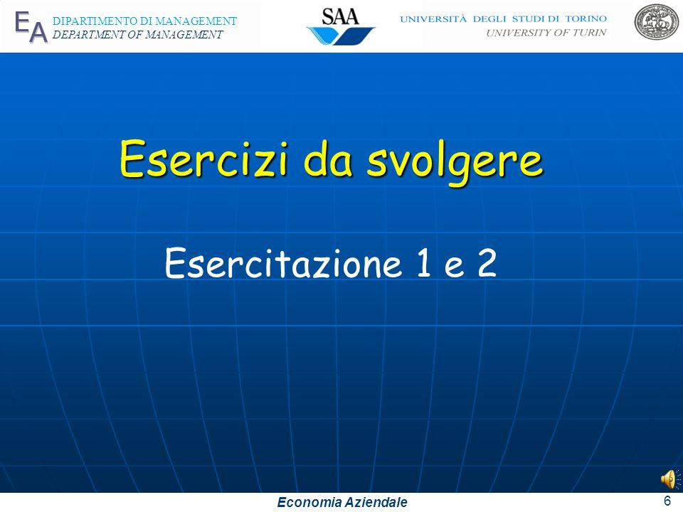 Economia Aziendale DIPARTIMENTO DI MANAGEMENT DEPARTMENT OF MANAGEMENT 5 Cancelleria c/acquisti 1.200 Debiti v/fornitori 1.200 3 aprile: acquisto di c