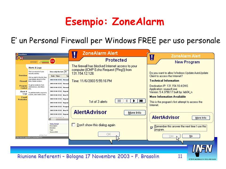 11 Esempio: ZoneAlarm E' un Personal Firewall per Windows FREE per uso personale Riunione Referenti – Bologna 17 Novembre 2003 – F.
