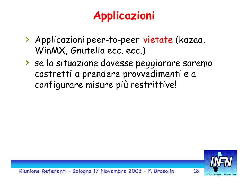 18 Applicazioni vietate › Applicazioni peer-to-peer vietate (kazaa, WinMX, Gnutella ecc. ecc.) › se la situazione dovesse peggiorare saremo costretti
