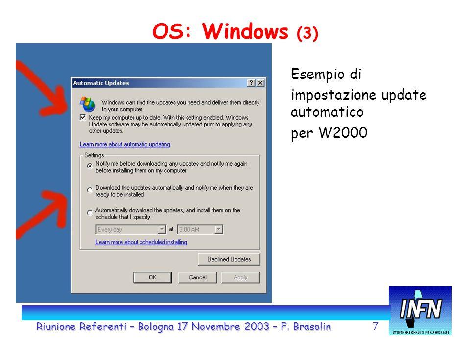 7 OS: Windows (3) Esempio di impostazione update automatico per W2000 Riunione Referenti – Bologna 17 Novembre 2003 – F. Brasolin