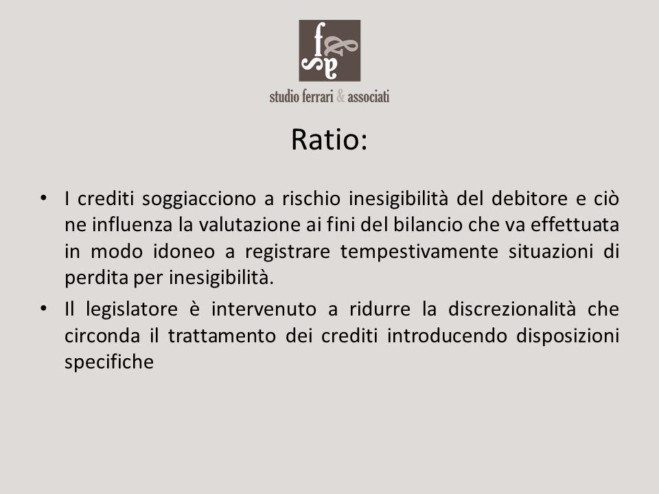 Ratio: I crediti soggiacciono a rischio inesigibilità del debitore e ciò ne influenza la valutazione ai fini del bilancio che va effettuata in modo id