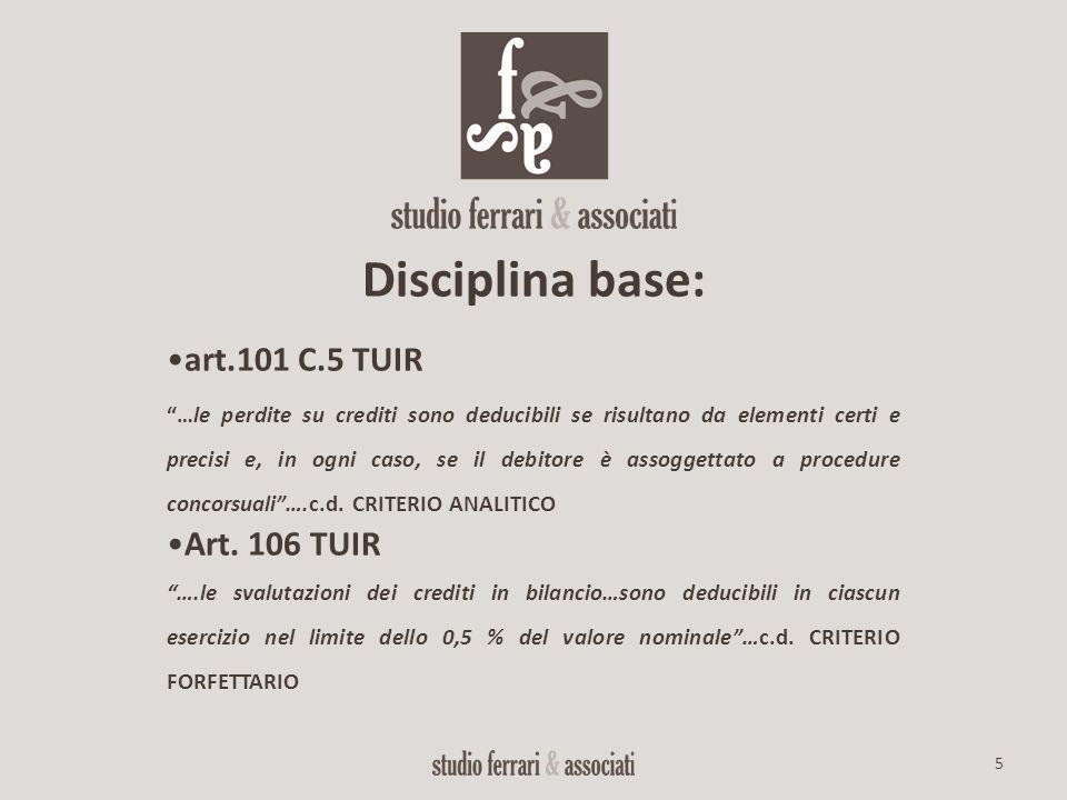 """5 Disciplina base: art.101 C.5 TUIR """"…le perdite su crediti sono deducibili se risultano da elementi certi e precisi e, in ogni caso, se il debitore è"""