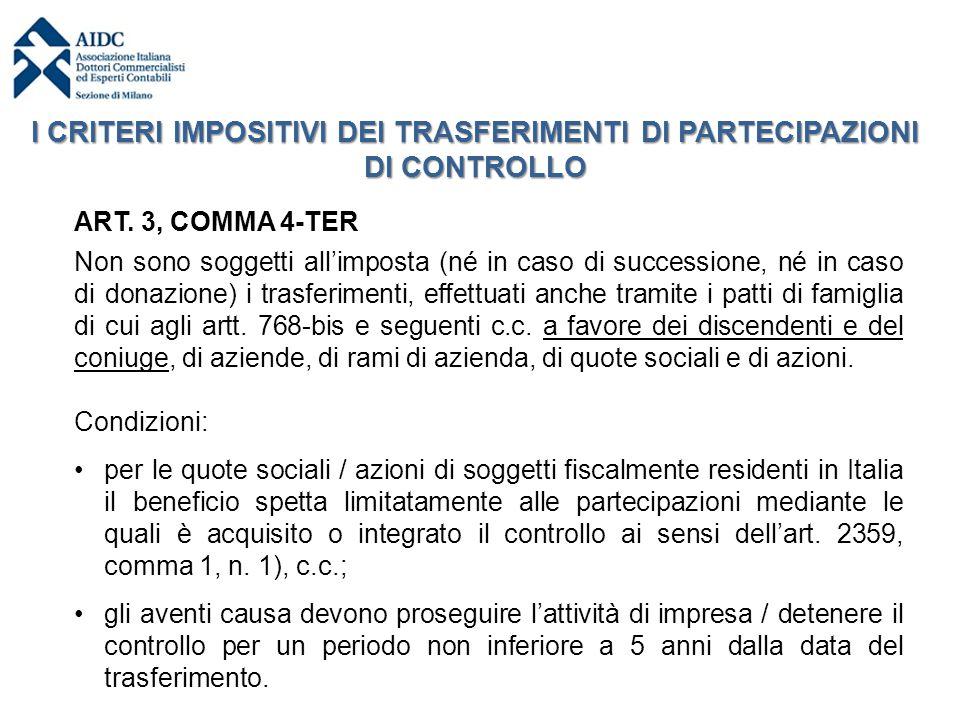 ART. 3, COMMA 4-TER Non sono soggetti all'imposta (né in caso di successione, né in caso di donazione) i trasferimenti, effettuati anche tramite i pat