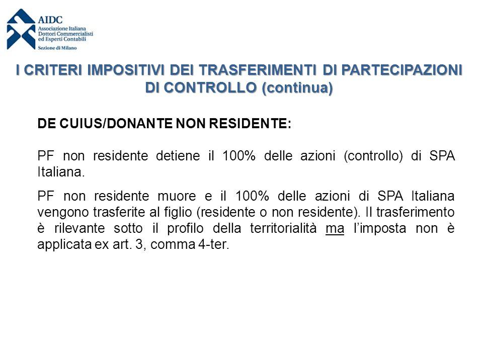 DE CUIUS/DONANTE NON RESIDENTE: PF non residente detiene il 100% delle azioni (controllo) di SPA Italiana. PF non residente muore e il 100% delle azio