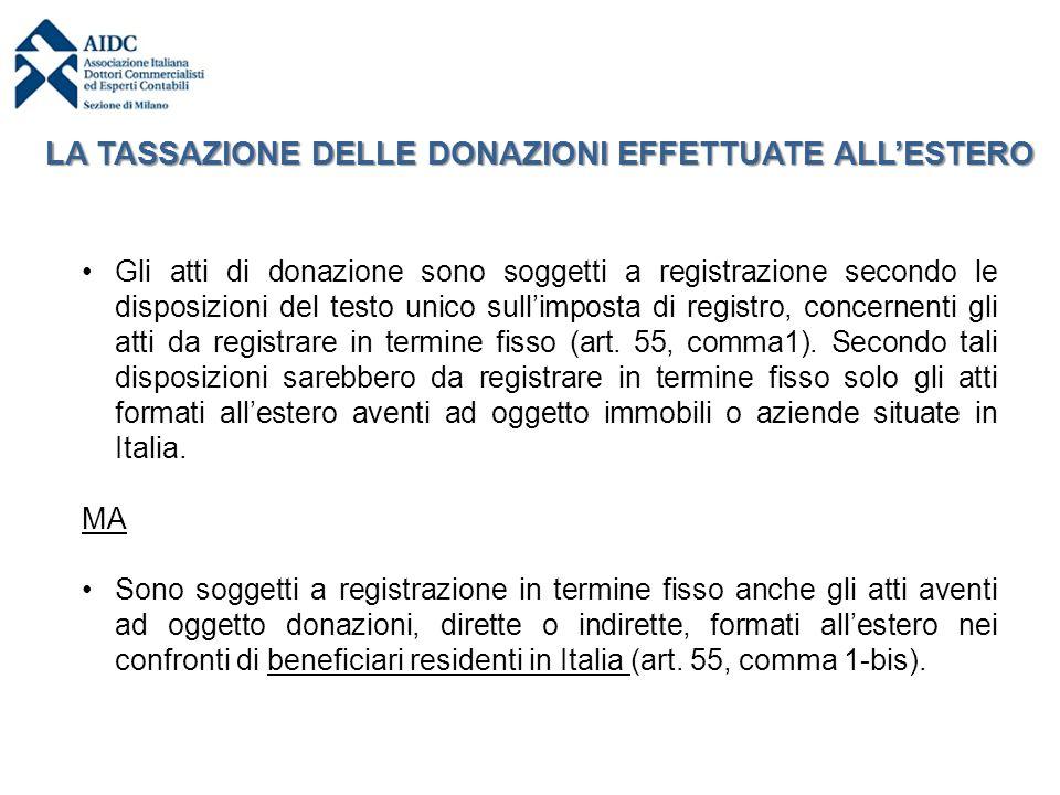 Gli atti di donazione sono soggetti a registrazione secondo le disposizioni del testo unico sull'imposta di registro, concernenti gli atti da registra