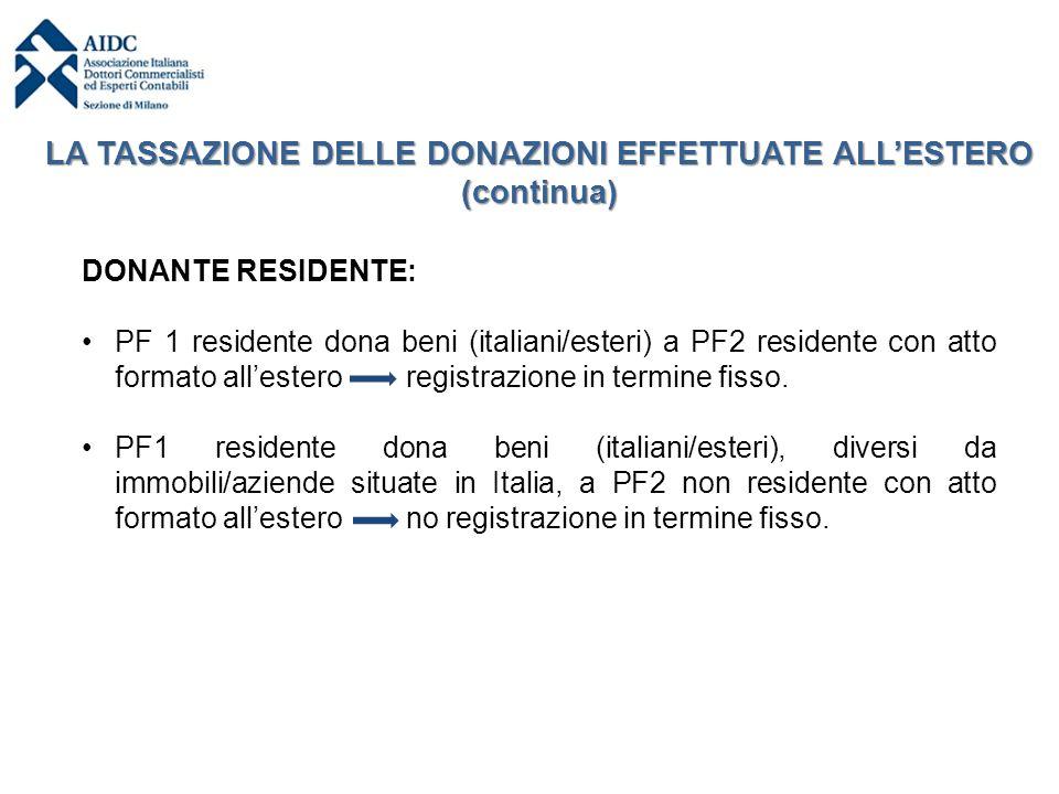 DONANTE RESIDENTE: PF 1 residente dona beni (italiani/esteri) a PF2 residente con atto formato all'estero registrazione in termine fisso. PF1 resident