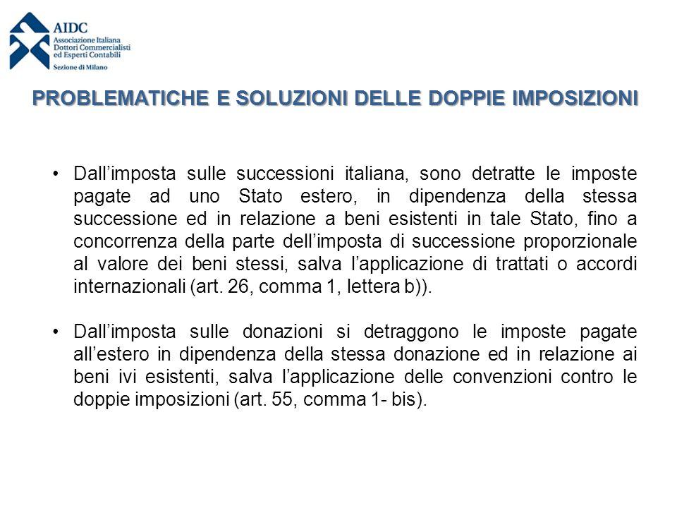 Dall'imposta sulle successioni italiana, sono detratte le imposte pagate ad uno Stato estero, in dipendenza della stessa successione ed in relazione a