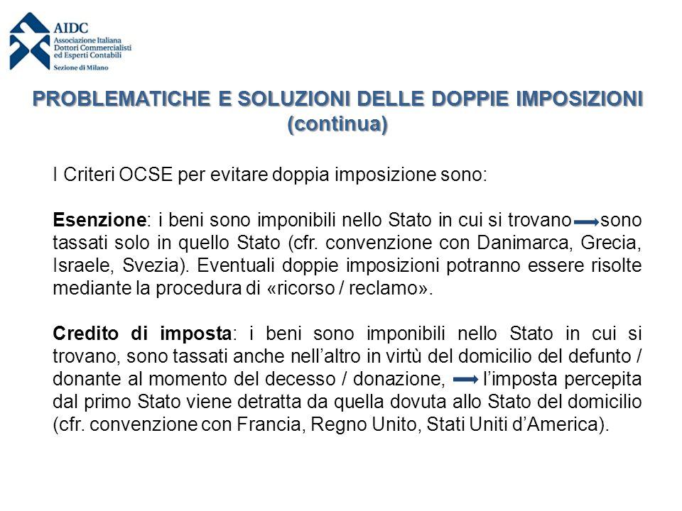 I Criteri OCSE per evitare doppia imposizione sono: Esenzione: i beni sono imponibili nello Stato in cui si trovano sono tassati solo in quello Stato