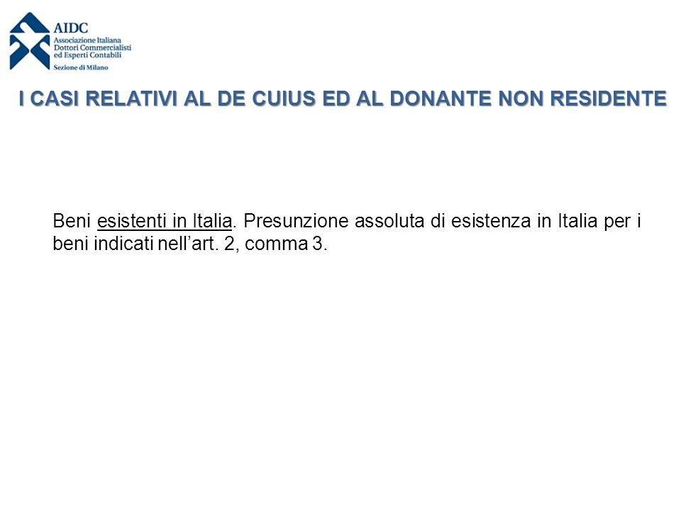 Beni esistenti in Italia. Presunzione assoluta di esistenza in Italia per i beni indicati nell'art. 2, comma 3. I CASI RELATIVI AL DE CUIUS ED AL DONA
