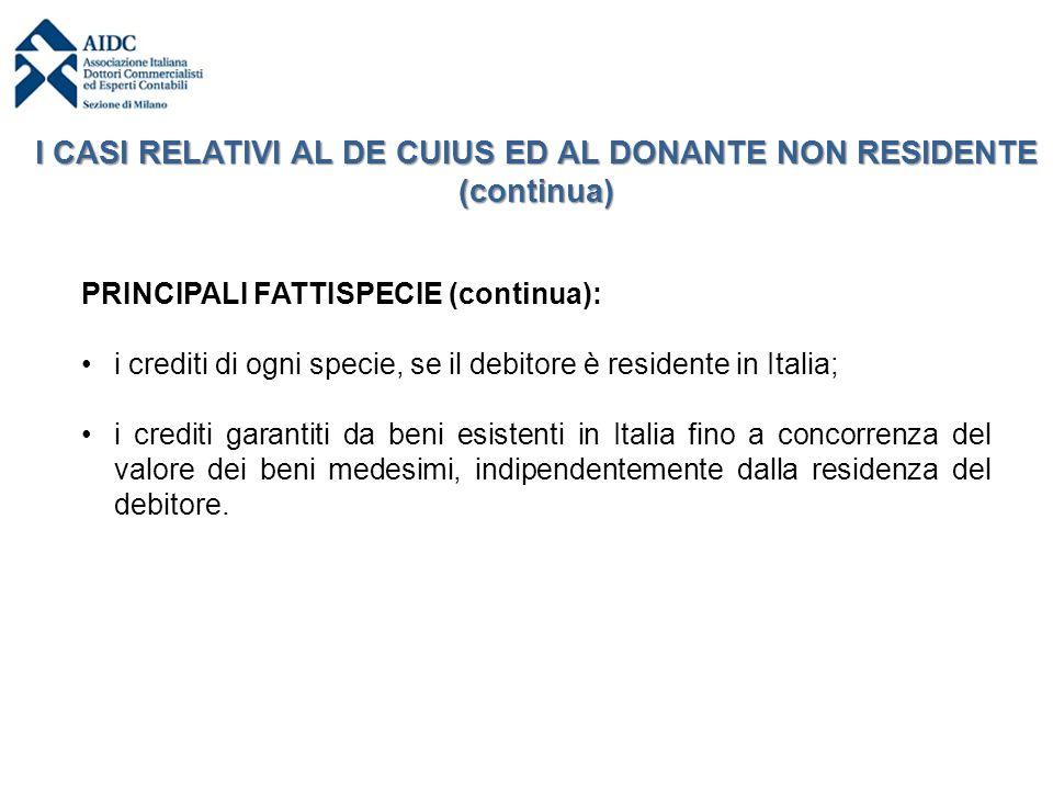 PRINCIPALI FATTISPECIE (continua): i crediti di ogni specie, se il debitore è residente in Italia; i crediti garantiti da beni esistenti in Italia fin