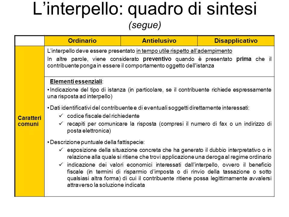 L'interpello: quadro di sintesi (segue) OrdinarioAntielusivoDisapplicativo Caratteri comuni L'interpello deve essere presentato in tempo utile rispett