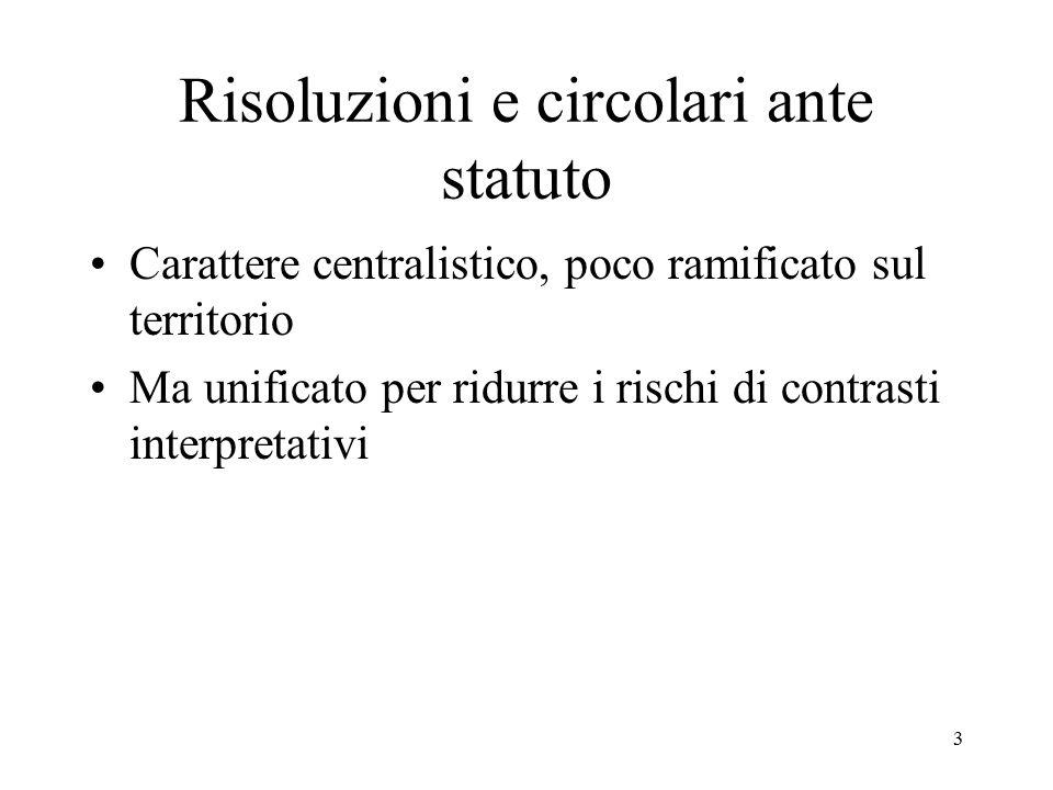 3 Risoluzioni e circolari ante statuto Carattere centralistico, poco ramificato sul territorio Ma unificato per ridurre i rischi di contrasti interpre
