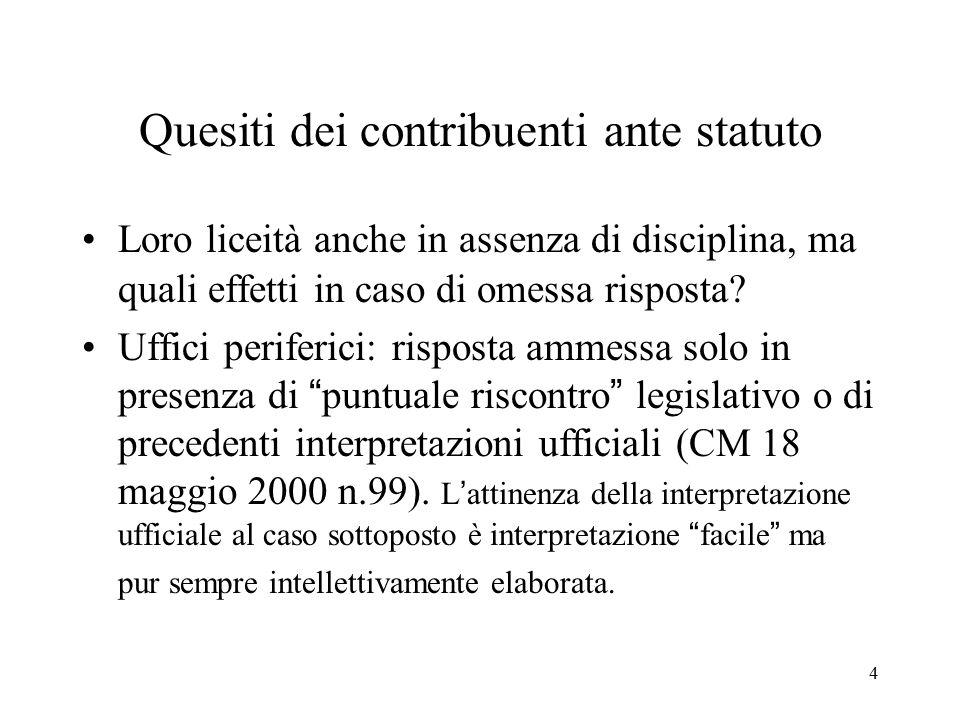 5 Interpello da Statuto e carattere preventivo L'art.11 non prevede che l'interpello debba avere carattere preventivo.