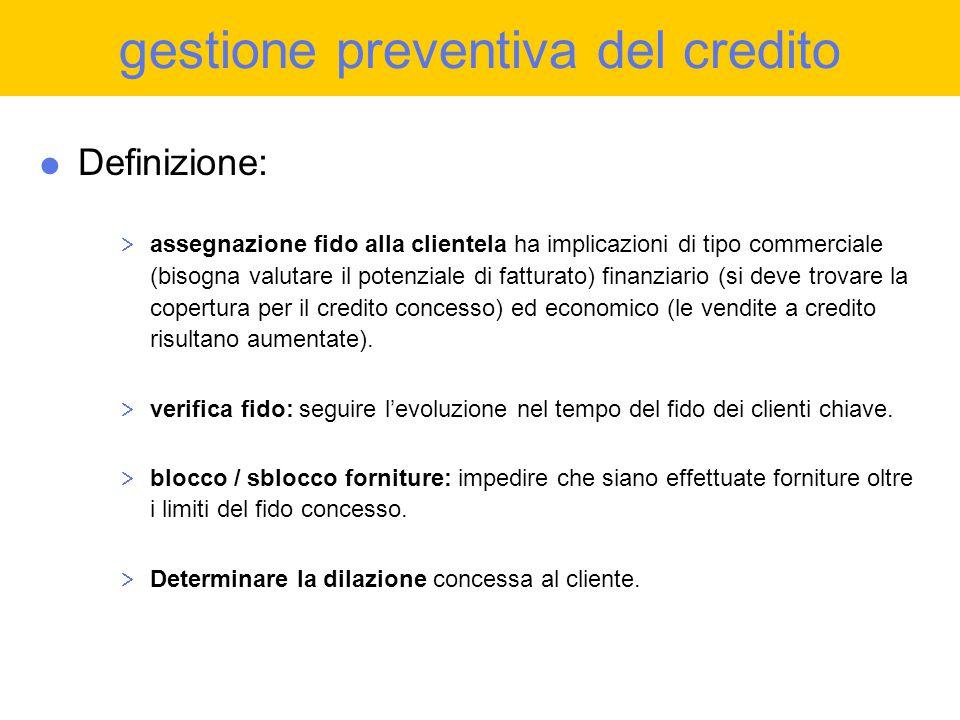 Ciclo Attivo  gestione preventiva del credito  gestione del credito in essere  factoring  gestione incassi  lo scaduto + legale