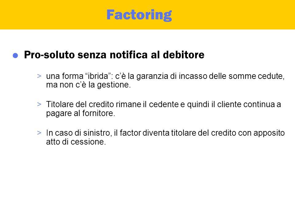 Factoring  Pro-solvendo >cessione del credito senza passaggio del rischio di insolvenza in capo al cessionario.