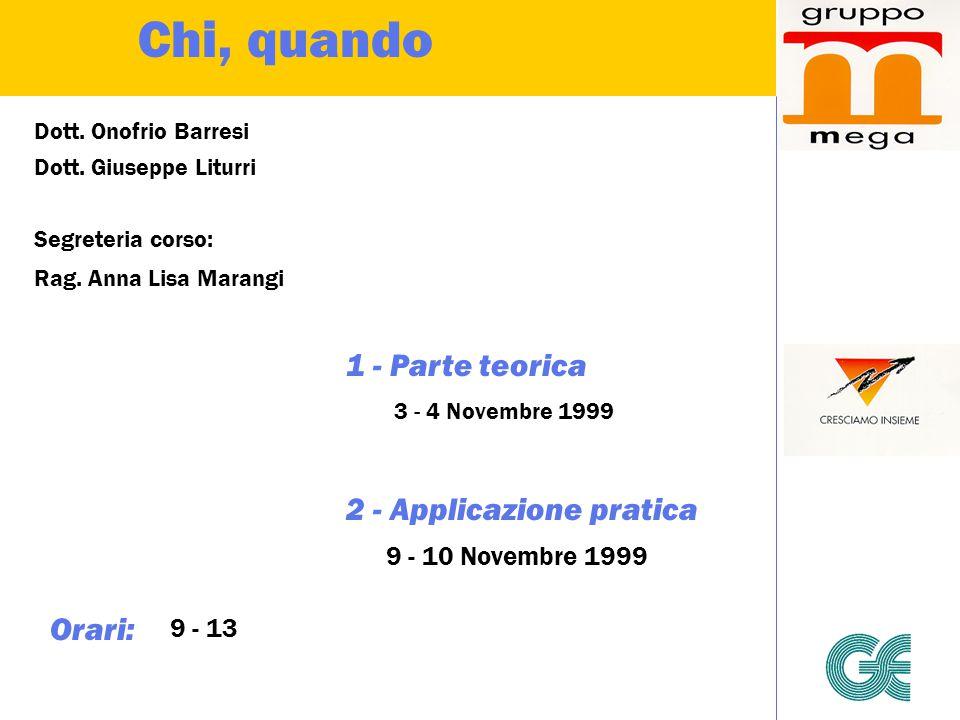 1 - Parte teorica 3 - 4 Novembre 1999 Chi, quando 2 - Applicazione pratica 9 - 10 Novembre 1999 Orari: 9 - 13 Dott.