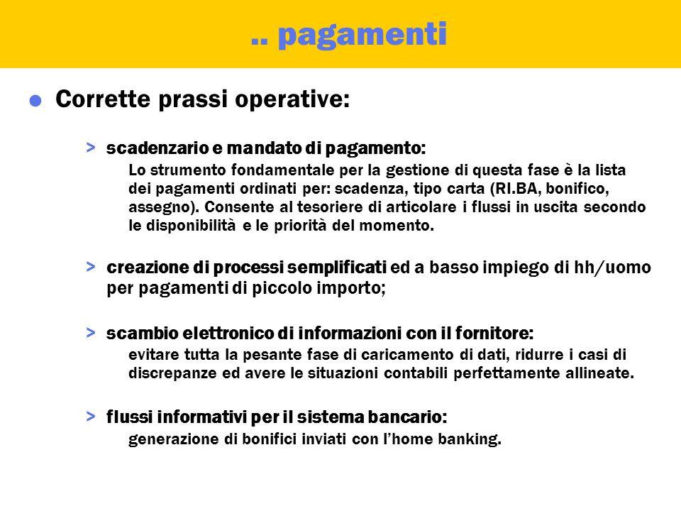 Gestione e contabilizzazione pagamenti  Definizione: >Generazione liste di pagamento ed individuazione delle priorità. >Emissione dei documenti di pa