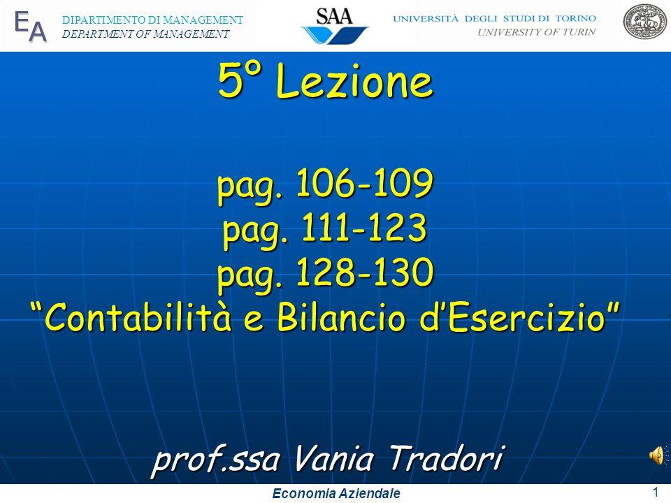 Economia Aziendale DIPARTIMENTO DI MANAGEMENT DEPARTMENT OF MANAGEMENT 5° Lezione pag.